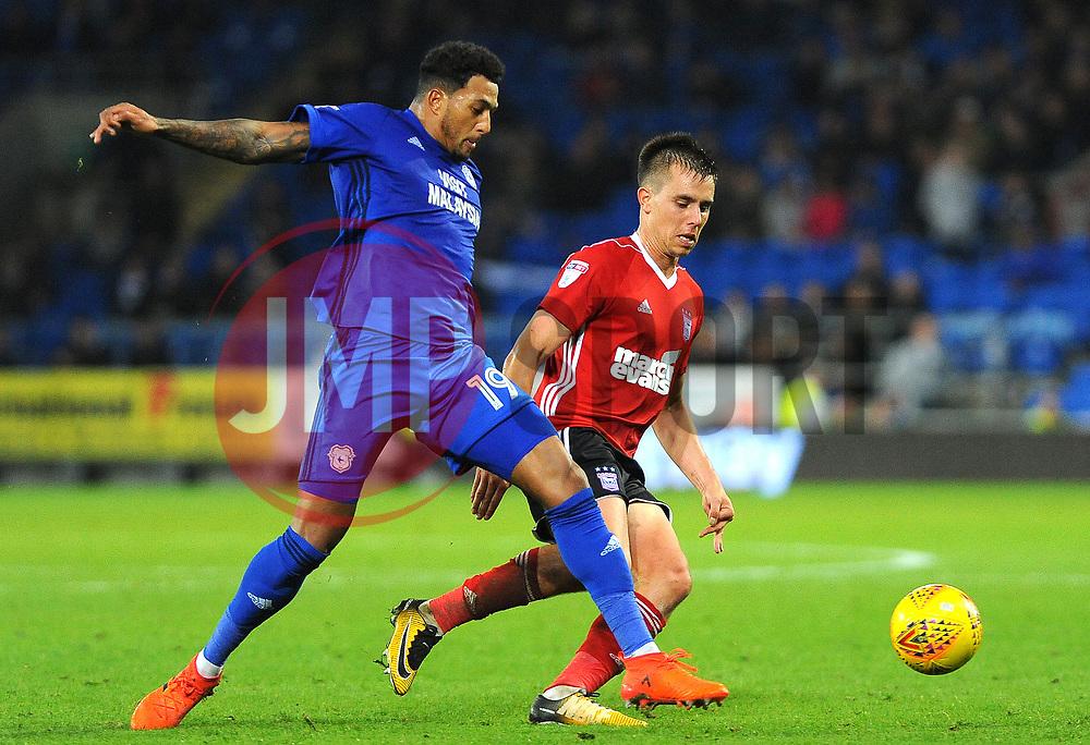 Nathaniel Mendez-Laing of Cardiff City challenges Jonas Knudsen of Ipswich Town - Mandatory by-line: Nizaam Jones/JMP - 31/10/2017 -  FOOTBALL - Cardiff City Stadium- Cardiff, Wales -  Cardiff City v Ipswich  Town- Sky Bet Championship
