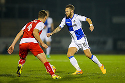 Matt Taylor of Bristol Rovers is challenged by Eggert Jonsson of Fleetwood Town - Rogan Thomson/JMP - 01/11/2016 - FOOTBALL - Memorial Stadium - Bristol, England - Bristol Rovers v Fleetwood Town - Sky Bet League One.