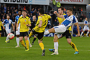 Bristol Rovers defender Lee Brown shoots during the The FA Cup match between Bristol Rovers and Chesham FC at the Memorial Stadium, Bristol, England on 8 November 2015. Photo by Alan Franklin.