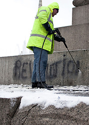 © under license to London News Pictures. 02/12/10. Graffiti from student protests is cleaned from Nelson's Column ahead of Christmas tree lighting ceremony  in Trafalgar Square.  Credit should read Matt Cetti-Roberts/London News Pictures