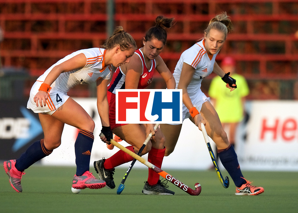 SANTIAGO - 2016 8th Women's Hockey Junior World Cup<br /> USA v NED (Pool A)<br /> foto: Charlotte Adegeest, Nicole Woods and Kyra Fortuin <br /> FFU PRESS AGENCY COPYRIGHT FRANK