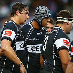 DURBAN, SOUTH AFRICA - AUGUST 22: Etienne Oosthuizen  with  Marco Wentzel (captain) of the Cell C Sharks during the Absa Currie Cup match between Cell C Sharks and Xerox Golden Lions at Growthpoint Kings Park on August 22, 2015 in Durban, South Africa. (Photo by Steve Haag/Gallo Images)
