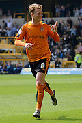 Wolverhampton Wanderers midfielder George Saville celebrates scoring the second goal 2-0 during the Sky Bet Championship match between Wolverhampton Wanderers and Sheffield Wednesday at Molineux, Wolverhampton, England on 7 May 2016. Photo by Alan Franklin.