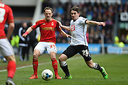 Derby County midfielder Jamie Hanson and Nottingham Forest midfielder David Vaughan during the Sky Bet Championship match between Derby County and Nottingham Forest at the iPro Stadium, Derby, England on 19 March 2016. Photo by Jon Hobley.