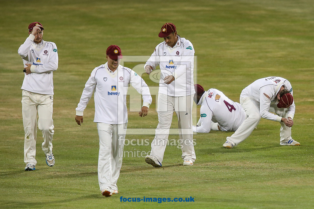 Northants players as a potential catch is dropped off of the last ball of the day during the Specsavers County C'ship Div Two match at the County Ground, Northampton<br /> Picture by Andy Kearns/Focus Images Ltd 0781 864 4264<br /> 26/06/2017