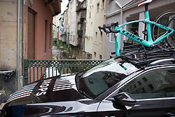 Drops Cycling Team team bikes wait for the Durango-Durango Emakumeen Saria - a 113 km road race, starting and finishing in Durango on May 16, 2017, in the Basque Country, Spain.