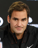 ROGER FEDERER (SUI), Interview<br /> <br /> Tennis - Australian Open 2018 - Grand Slam ITF / ATP / WTA -  Melbourne Park - Melbourne - Victoria - Australia  - 14 January 2018.