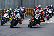 Michael RUTTER, GBR, Aspire-Ho by Bathams Racing HONDA RC213V and Peter HICKMAN, GBR, Aspire-Ho by Bathams Racing BMW S 1000 RR lead the field at the start. <br /> <br /> 65th Macau Grand Prix. 14-18.11.2018.<br /> Suncity Group Macau Motorcycle Grand Prix - 52nd Edition.<br /> Macau Copyright Free Image for editorial use only