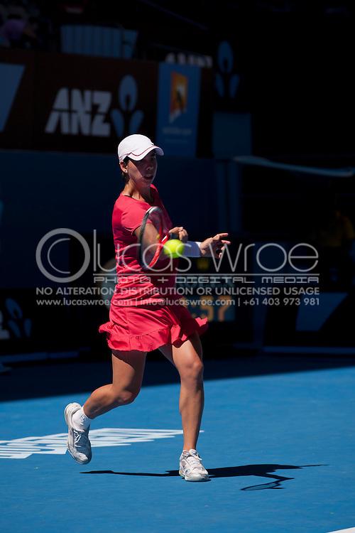 Carla Suarez Navarro (ESP). 2012 Australian Open Tennis. Womens Singles. Second Round. Hisense Arena, Melbourne and Olympic Parks, Melbourne, Victoria, Australia. 19/01/2012. Photo By Lucas Wroe