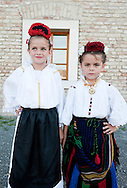 Brodsko kolo, Slavonski Brod, Croatia (8 June 2013). Members of the folk dancing group KUD 'Brodski biseri' ('Tears of Brod'), from Bosanski Brod, photographed before performing on the second evening of the Festival, in the town fortress (tvrda). The Brodsko kolo, now in its 49th year, is the oldest folk dancing festival in Croatia.