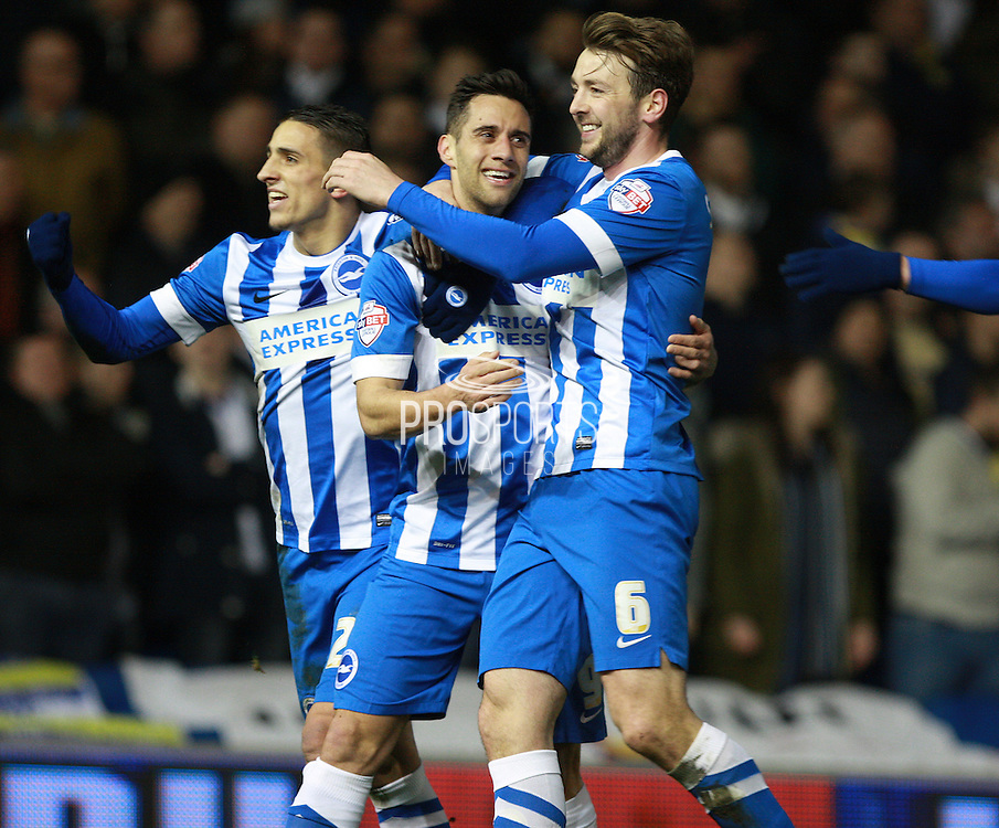 Brighton striker Sam Baldock & Brighton central midfielder Dale Stephens celebrate as Brighton go 2-0 in front during the Sky Bet Championship match between Brighton and Hove Albion and Leeds United at the American Express Community Stadium, Brighton and Hove, England on 29 February 2016. Photo by Bennett Dean.