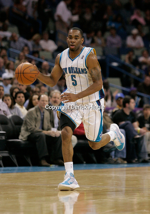 Apr 07, 2010; New Orleans, LA, USA; New Orleans Hornets guard Marcus Thornton (5) drives with the ball against the Charlotte Bobcats during the first half at the New Orleans Arena. The Bobcats defeated the Hornets 104-103. Mandatory Credit: Derick E. Hingle-US PRESSWIRE
