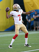 San Francisco 49ers quarterback Colin Kaepernick (7) throws a pass while warming up before the 2016 NFL preseason football game against the San Diego Chargers on Thursday, Sept. 1, 2016 in San Diego. The 49ers won the game 31-21. (©Paul Anthony Spinelli)