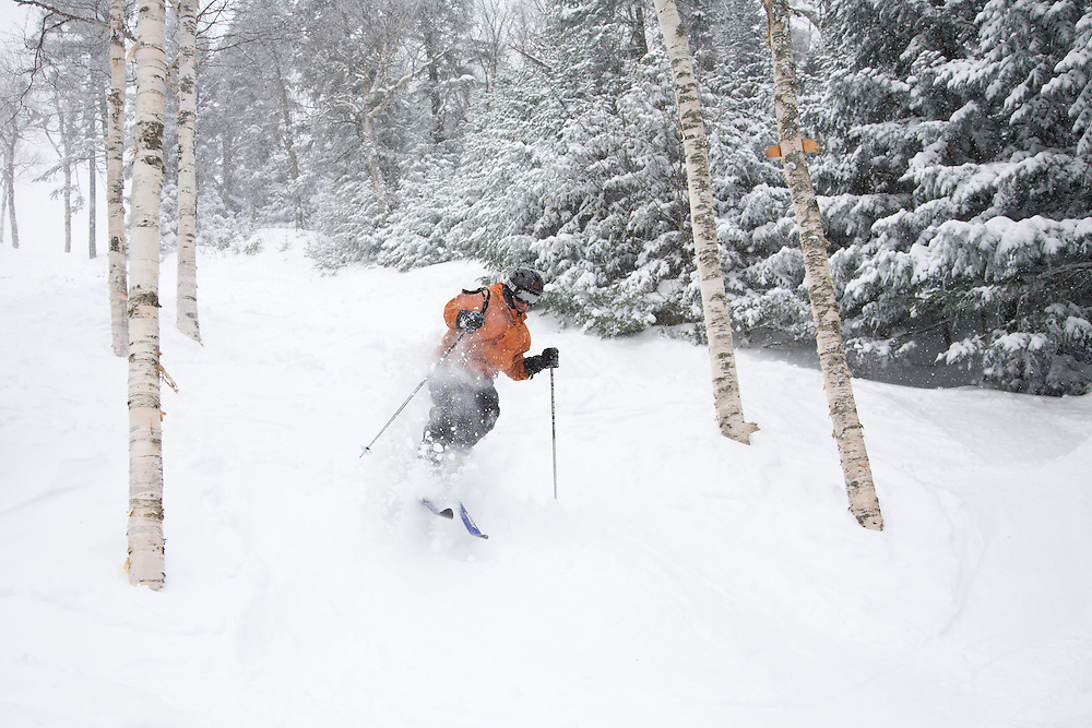Skier skiing some fresh powder at Mad River Glen in Waitsfield, Vermont