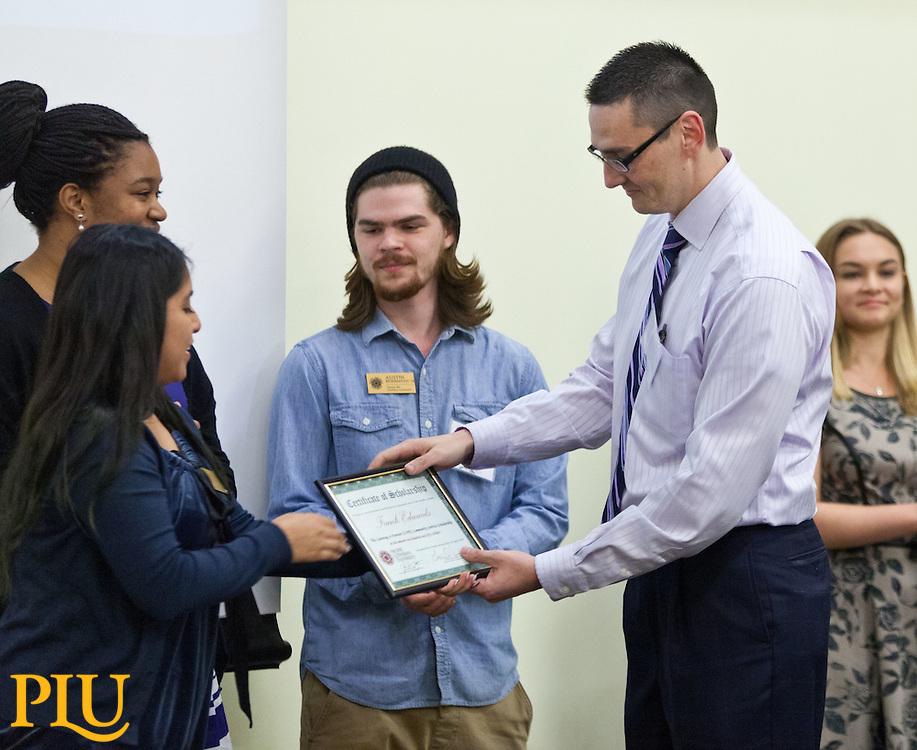 Frank Edwards, Learning is Forever (L.I.F.E.) Community Service Scholarship, Celebration of Service at PLU on Wednesday, April 22, 2015. (Photo: John Froschauer/PLU)