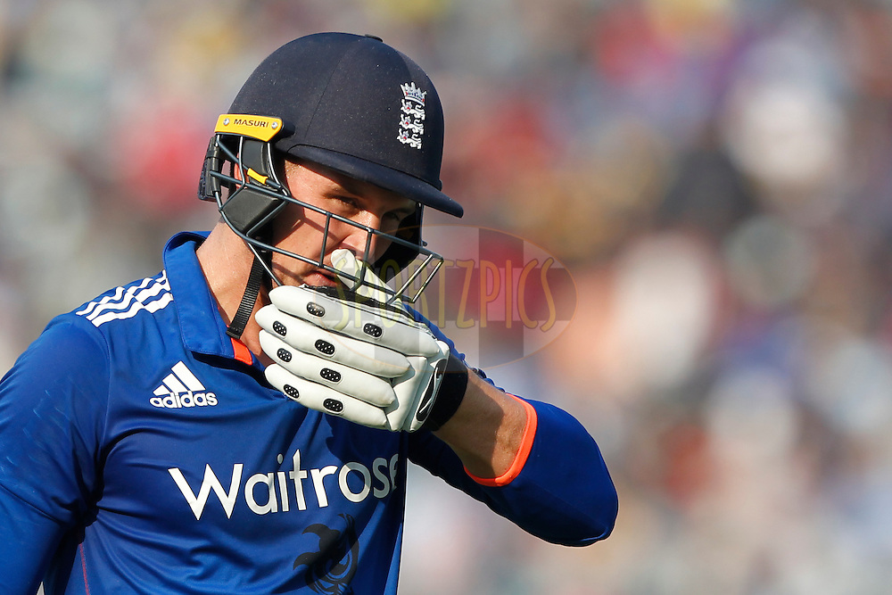 Jason Roy of England walk back after his dismissal during the third One Day International (ODI) between India and England  held at Eden Gardens in Kolkata on the 22nd January 2017<br /> <br /> Photo by: Deepak Malik/ BCCI/ SPORTZPICS
