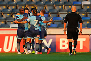 Adebayo Akinfenwa (20) of Wycombe Wanderers ce;ebrates making the score 2-0 to the home team during the Pre-Season Friendly match between Wycombe Wanderers and AFC Wimbledon at Adams Park, High Wycombe, England on 25 July 2017. Photo by Graham Hunt.