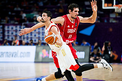 Aleksei Shved of Russia vs Boban Marjanovic of Serbia during basketball match between National Teams of Russia and Serbia at Day 16 in Semifinal of the FIBA EuroBasket 2017 at Sinan Erdem Dome in Istanbul, Turkey on September 15, 2017. Photo by Vid Ponikvar / Sportida