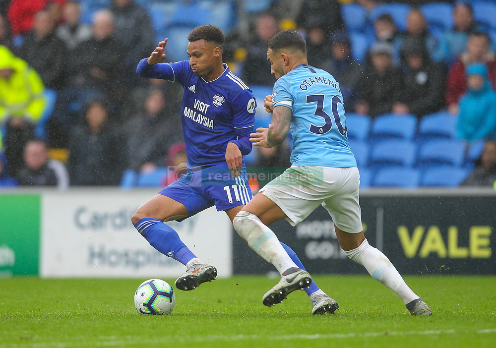 September 22, 2018 - Cardiff City, England, United Kingdom - Josh Murphy of Cardiff City and Nicolas Otamendi of Manchester City battle for possession during the Premier League match between Cardiff City and Manchester City at Cardiff City Stadium,  Cardiff, England on 22 Sept 2018. (Credit Image: © Action Foto Sport/NurPhoto/ZUMA Press)