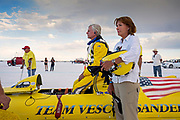 Image of team preparations at the Bonneville Salt Flats, Utah, American Southwest