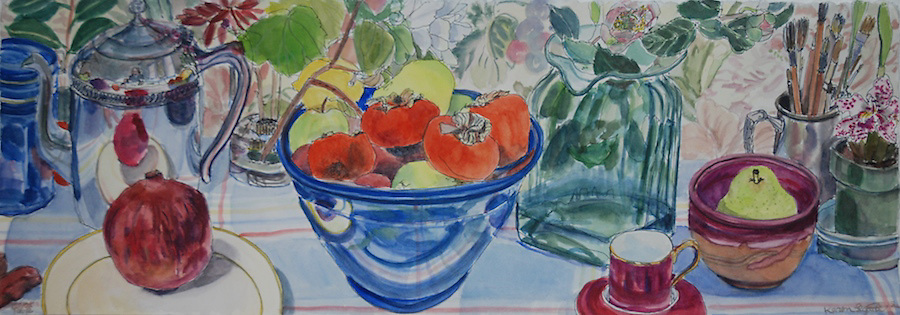 Persimmons, Pear, Pomegranate, Painting table, watercolor on hot press paper 11 x 30""