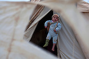 A Syrian refugee baby is held by his mother who feared to be identified at the entrance of the family's tent at the  Al-Zaatri refugee camp in the Jordanian city of Mafraq, near the border with Syria February 5,2013. The man did not want to give his name for security reasons ...Jordan announced on Tuesday that the number of Syrian refugees in the country is expected to exceed 700, 000 in 2013, the state-run Petra news agency reported. (Photo by Heidi Levine/Sipa Press).