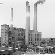 The Studebaker Corporation's powerplant. Photo taken 1924, facing northwest. South Bend's Sample Street is visible in front of the poowerplant.