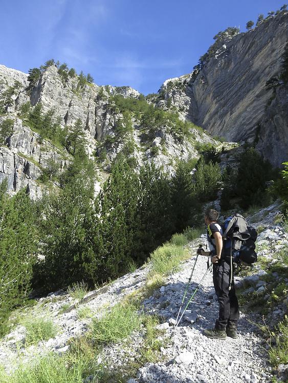 Kenan on the approach to  Qafa Pejes pass, Albania.