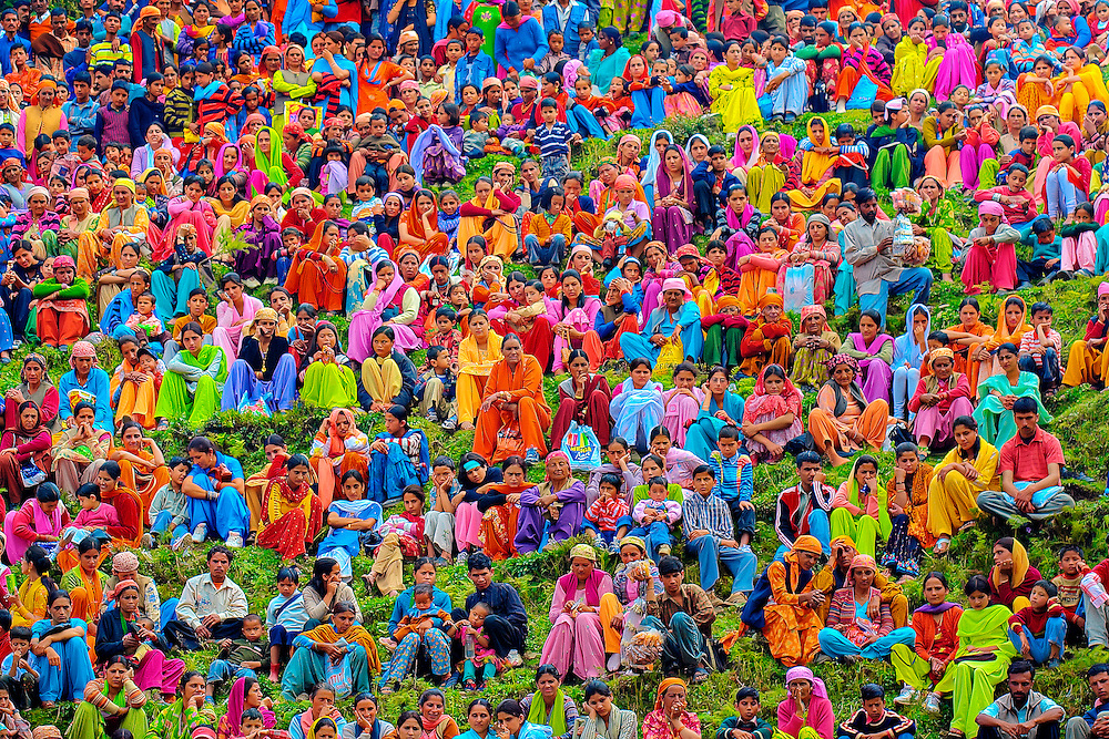 Colorful section of ladies watching a wrestling match in a local fair...<br /> Taken in Himachal Pradesh, India...