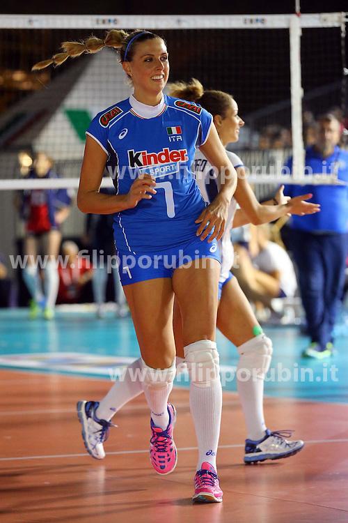 MARTINA GUIGGI<br /> ITALIA - AZERBAIJAN<br /> AMICHEVOLE NAZIONALE ITALIANA VOLLEY FEMMINILE<br /> FIRENZE 09-09-2015<br /> FOTO GALBIATI - RUBIN