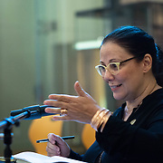 SEPTEMBER 26, 2017---MIAMI, FLORIDA---<br /> Dr. Sonia Chao from The University of Miami, talks to the audience during  panel discussion. This was part of the Miami Dade College series, By the People.<br /> (Photo by Angel Valentin/Freelance).