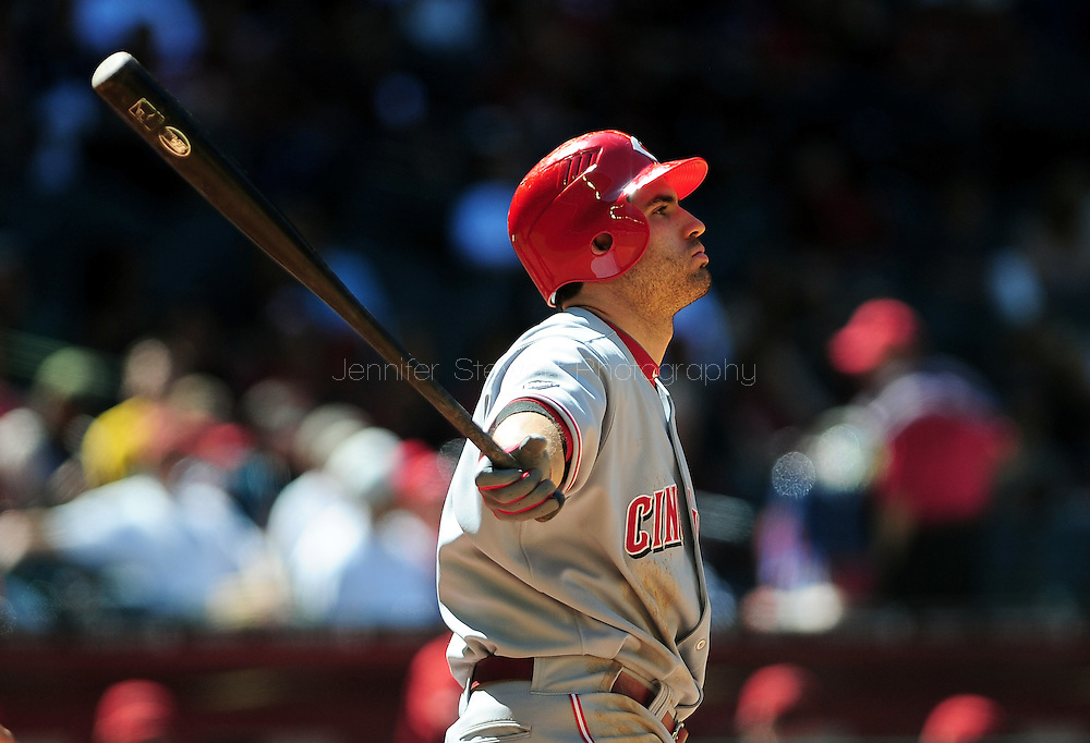 Apr. 10 2011; Phoenix, AZ, USA; Cincinnati Reds infielder Joey Votto (19) reacts at bat against the Arizona Diamondbacks at Chase Field. Mandatory Credit: Jennifer Stewart-US PRESSWIRE..
