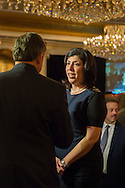 Garden City, New York, USA. 3rd November 2015. Democrat MADELINE SINGAS claims victory over Republican Kate Murray in the hotly contested race for Nassau County District Attorney. Singas, the Acting District Attorney, was interviewed at the Nassau County Democrats Election Night Party at the Garden City Hotel, when, with more than 99% of the precincts results in, she was comfortably leading Murray, who's Hempstead Town Supervisor.
