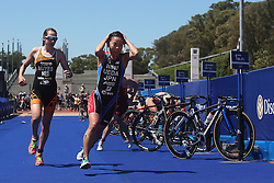 Ai Ueda of Japan sets off for the run leg during the Elite Women race of the Discovery Triathlon World Cup Cape Town leg held at Green Point in Cape Town, South Africa on the 11th February 2017.<br /> <br /> Photo by Shaun Roy/RealTime Images