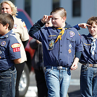 Thomas Wells | BUY AT PHOTOS.DJOURNAL.COM<br /> Church members and even local cub scouts came out on Tuesday to line the road to Emory Cemetary to show their support for the family of Cpl. George Mason.