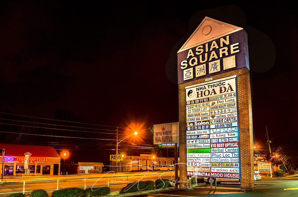Asian Square is pictured on Buford International Highway in Doraville, Georgia, May 28, 2014. The city was incorporated in 1871 to meet the needs of the farming community. Today, Doraville boasts one of the largest Asian populations in the country and is home to many Latin American immigrants. Of the 8,330 people living in Doraville at the time of the 2010 Census, 56 percent listed a language other than English as their native tongue. Many of the businesses along Buford Highway cater to the international community. (Photo by Carmen K. Sisson/Cloudybright)