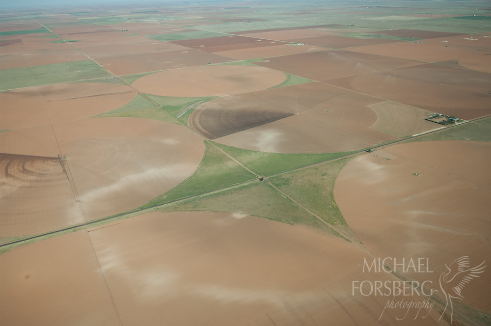 Llano Estacado region, Texas<br /> <br /> North of Morton, TX,  a white ring of alkaline soil demarks the edge of a former wetland like salt around a margarita glass. <br /> <br />  Much of the arid shortgrass prairie in this region has gone to the plow, the irrigated crops fed by center pivots from the Ogalla aquifer below. t
