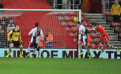 Southampton's Rickie Lambert heads towards goal. - Photo mandatory by-line: Alex James/JMP - Tel: Mobile: 07966 386802 04/12/2013 - SPORT - Football - Southampton - St Mary's Stadium - Southampton v Aston Villa - Barclays Premier League