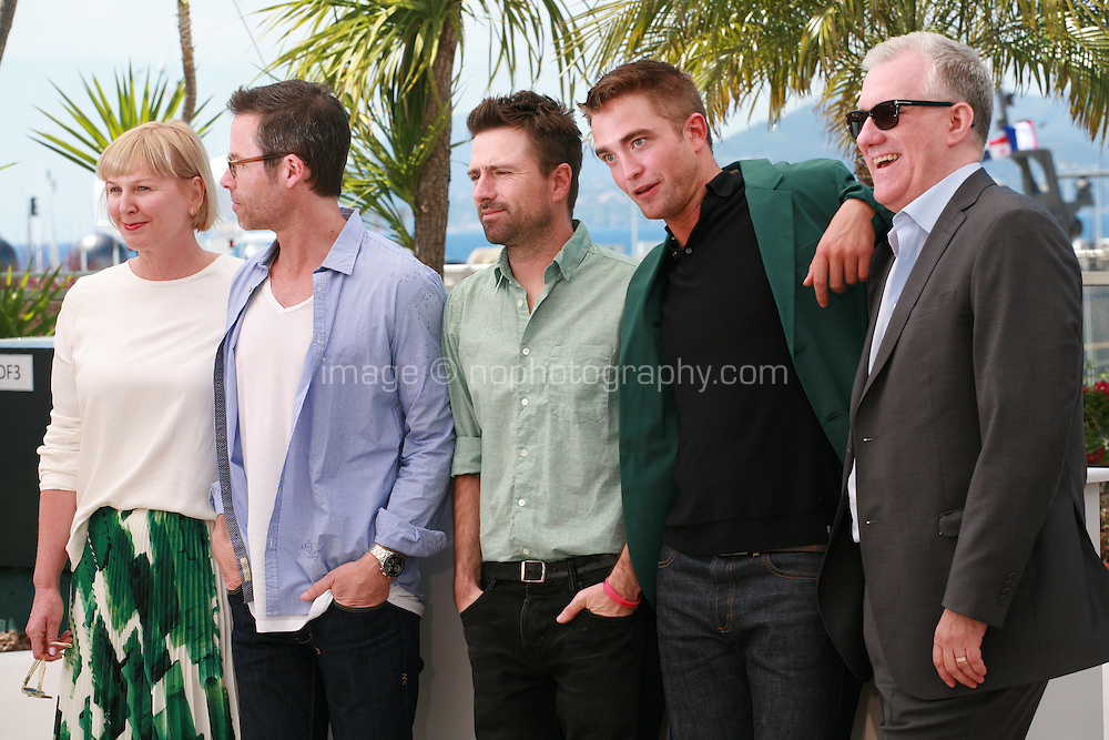 Actress Liz Watts, actor Guy Pearce, director David Michod, actor Robert Pattinson and producer David Linde at the photo call for the film The Rover at the 67th Cannes Film Festival, Sunday 18th May 2014, Cannes, France.