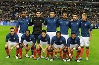 FOOTBALL - UEFA EUROPEAN CHAMPIONSHIP 2012 - QUALIFYING - GROUP D - FRANCE v BOSNIA - 11/10/2011 - PHOTO JEAN MARIE HERVIO / DPPI - TEAM FRANCE ( BACK ROW LEFT TO RIGHT: ERIC ABIDAL / HUGO LLORIS / ADIL RAMI / LOIC REMY / ANTHONY REVEILLERE / JEREMY MENEZ. FRONT ROW: YOHAN CABAYE / PATRICE EVRA / SAMIR NASRI / FLORENT MALOUDA / YANN M'VILA )