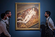 LUCIAN FREUD (1922-2011)<br /> Naked Portrait on a Red Sofa<br /> Painted in 1989-1991<br /> Estimate: $20,000,000-30,000,000 - Christie&rsquo;s showcases  the London Post-War and Contemporary Art Evening Sale in October, alongside an exceptional selection of works from the  New York sales in November of Impressionist, Modern, Post-War And  Contemporary Art. The works will be on view to the public from Saturday 10 October to Saturday 17 October at Christie&rsquo;s King Street. The highlight is  Amedeo Modigliani&rsquo;s, &lsquo;Nu couch&eacute; (Reclining  Nude)&rsquo;, painted in 1917-18, which has an estimate in the region of $100 million.