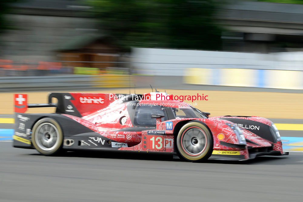 Matheo Tuscher (CHE) / Dominik Kraihamer (AUT) / Alexandre Imperatori (CHE) #13 Rebellion Racing Rebellion R-One AER,  during first practice for the Le Mans 24 Hr June 2016 at Circuit de la Sarthe, Le Mans, Pays de la Loire, France. June 15 2016. World Copyright Peter Taylor/PSP.