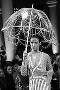 Models display the creations of Laurel DeWitt during 2017 Spring/Summer Runway show at the Church of the Holy Apostles in New York, New York on September 12, 2016.