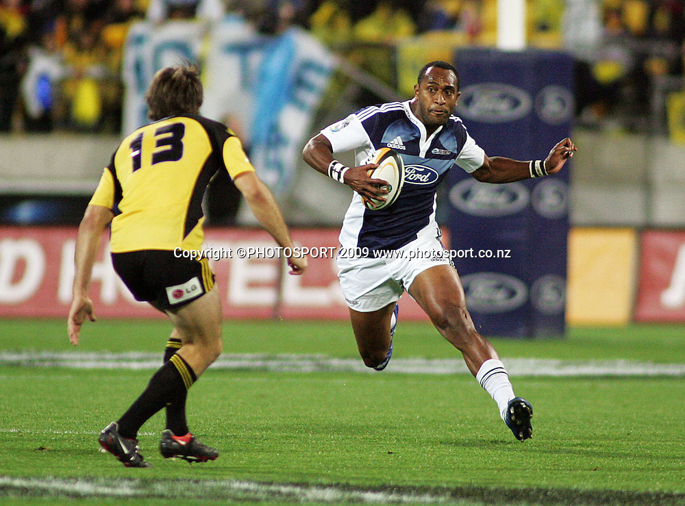 Blues winger Joe Rokocoko runs at Conrad Smith.<br /> Super 14 rugby union match - Hurricanes v Blues, Westpac Stadium, Wellington, New Zealand. Friday 1 May 2009. Photo: Archie Simmons/PHOTOSPORT
