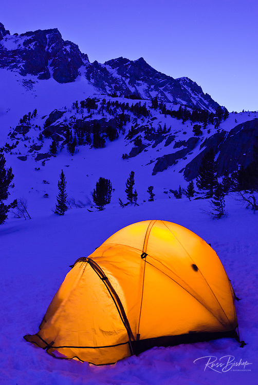 Yellow dome tent at dusk in winter, Inyo National Forest, Sierra Nevada Mountains, California
