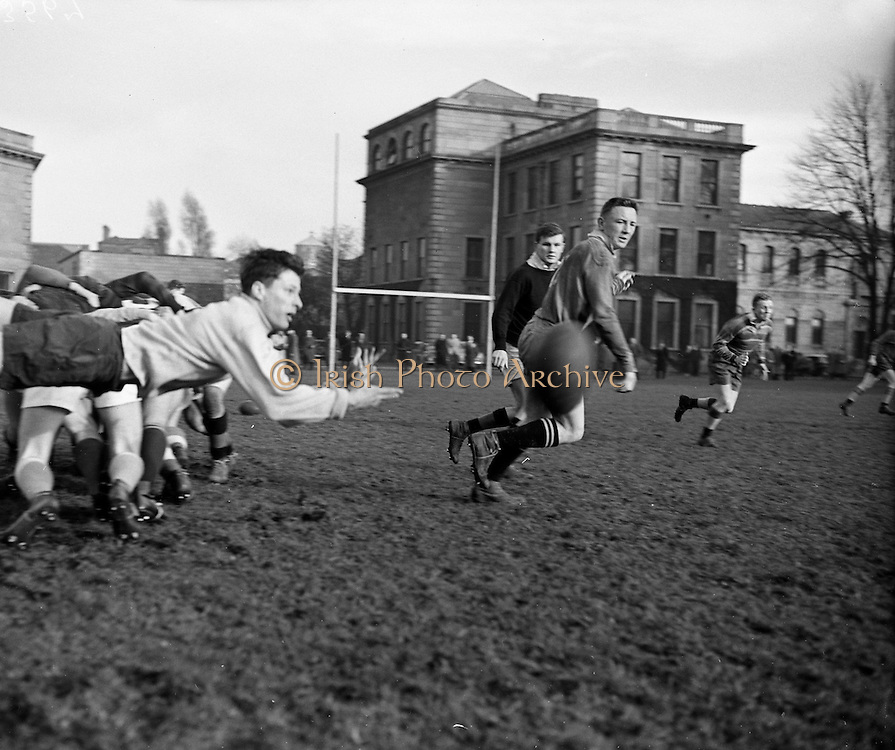 Irish Rugby Football Union, Ireland v Wales, Five Nations, Irish and Welsh teams practice, College Park, Dublin, Ireland, Friday 9th March, 1956,.9.3.1956, 3.9.1956,..Irish Team, ..P J Berkery, Wearing number 15 Irish jersey, Full back, Landsdowne Rugby Football Club, Dublin, Ireland,..S V J Quinlan, Wearing number 14 Irish jersey, Right Wing, Highfield Rugby Football Club, Cork, Ireland, and, Blackrock College Rugby Football Club, Dublin, Ireland,..N J Henderson, Wearing number 13 Irish jersey, Captain of the Irish team, Right centre, N.I.F.C, Rugby Football Club, Belfast, Northern Ireland, ..A J O'Reilly, Wearing number 12 Irish jersey, Left Centre, Old Belvedere Rugby Football Club, Dublin, Ireland,  ..A C Pedlow, Wearing number 11 Irish jersey, Left Wing, Queens University Rugby Football Club, Belfast, Northern Ireland,..J W Kyle, Wearing number 10 Irish jersey, Ouside Half, N.I.F.C, Rugby Football Club, Belfast, Northern Ireland, ..J A O'Meara, Wearing number 9 Irish jersey, Scrum, Dolphin Rugby Football Club, Cork, Ireland, ..P J O'Donoghue, Wearing  Number 1 Irish jersey, Forward, Bective Rangers Rugby Football Club, Dublin, Ireland, ..R Roe, Wearing number 2 Irish jersey, Forward, Landsdowne Rugby Football Club, Dublin, Ireland, and, London Irish Rugby Football Club, Surrey, England, ..B G Wood, Wearing number 3 Irish jersey, Forward, Garryowen Rugby Football Club, Limerick, Ireland, ..R H Thompson, Wearing number 4 Irish jersey, Forward, Instonians Rugby Football Club, Belfast, Northern Ireland,..J R Brady, Wearing number 5 Irish jersey, Forward, C I Y M S Rugby Football Club, Belfast, Northern Ireland, ..M J Cunningham,  Wearing number 6 Irish jersey, Forward, Cork Constitution Rugby Football Club, Cork, Ireland,  ..T McGrath, Wearing number 7 Irish jersey, Forward, Garryowen Rugby Football Club, Limerick, Ireland, . .J R Kavanagh, Wearing number 8 Irish jersey, Forward, Wanderers Rugby Football Club, Dublin, Ireland, ..Welsh Team, ..G Owen, Wearing number