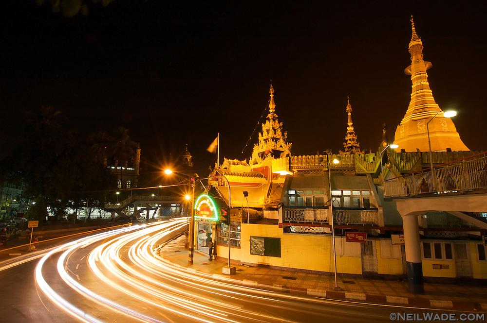 Sule Pagoda on Maha Bandoola Rd in the center of Yangon, Myanmar.