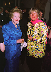 Left to right, BARONESS THATCHER and her daughter MISS CAROL THATCHER, at a fashion show in London on 12th May 1998.MHL 43