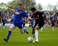 Photo: Ed Godden.<br />Barnet v Stockport County. Coca Cola League 2. 29/04/2006. Dean Sinclair (R) takes the ball past Stockport's David Beharall.