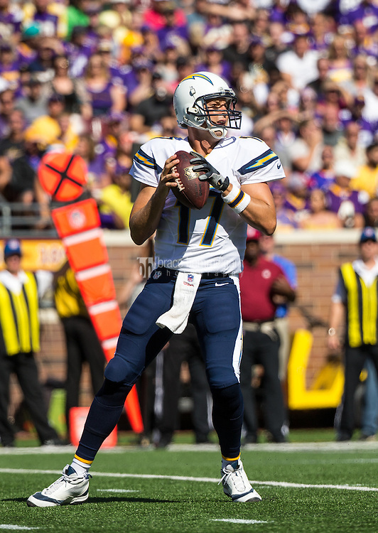 Sep 27, 2015; Minneapolis, MN, USA; San Diego Chargers quarterback Philip Rivers (17) against the Minnesota Vikings at TCF Bank Stadium. The Vikings defeated the Chargers 31-14. Mandatory Credit: Brace Hemmelgarn-USA TODAY Sports